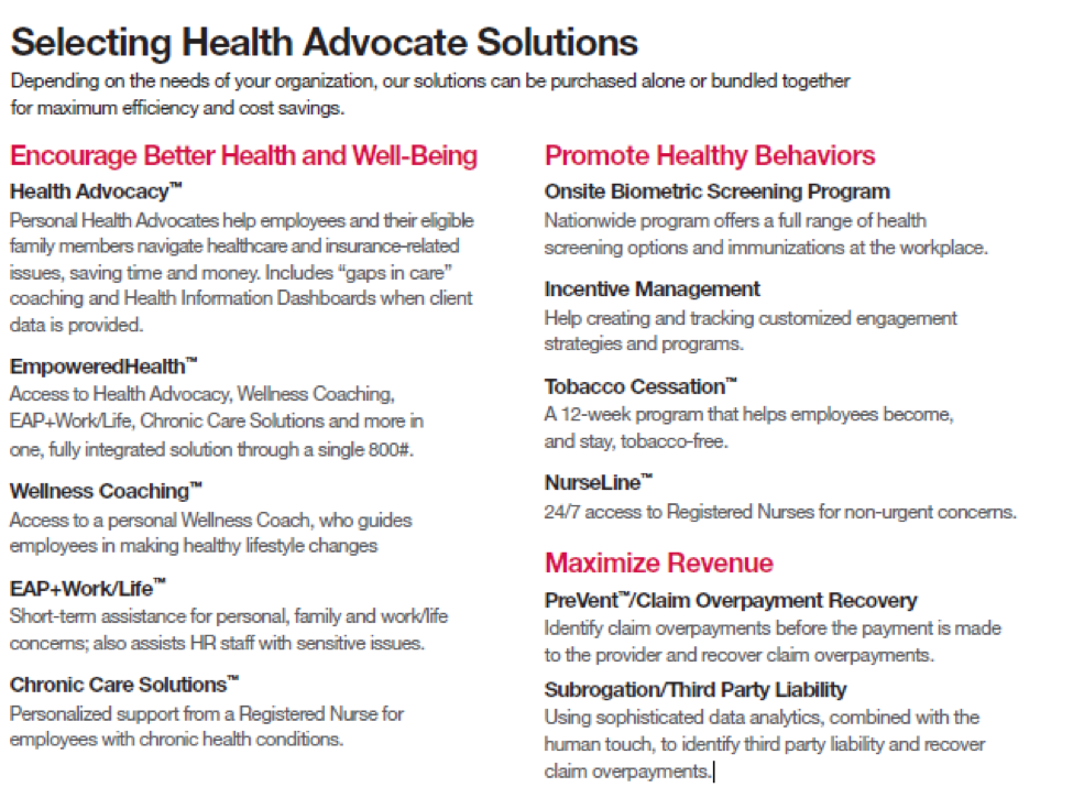 Selecting Health Advocate Solutions